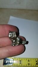"""Pewter 1"""" Kitty Cat Long Haired Miniature Figure"""