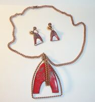 Vintage Red Enamel & Copper Pendant Necklace & Earrings MCM