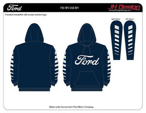 Ford Pullover Hoodie Men's Navy Sweatshirt Printed Front Ford FRDP3DIS9NVY