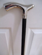 Silver Chrome Fritz Handle Walking Stick Black Beech Wood Formal Occasion Cane
