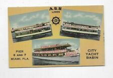 Vintage Linen POSTCARD AGH Lines City Yacht Basin Miami FL Sightseeing Boat R517