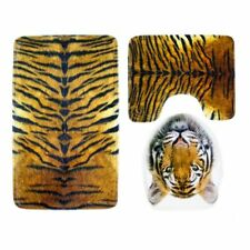 3pcs Bathroom Mat Set Animal Print Shower Toilet Floor Rug Seat Cover Carpet