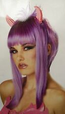 Punk Lavender Horned Devilicious Wig Goth Anime EMO Manga Cosplay Devil Creature