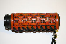 Custom Light Brown Leather Hand Tooled Basket Weave Grip Covers For Motorcycles