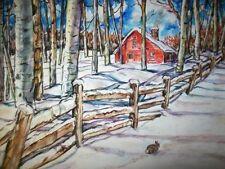 "11""x15"" ORIGINAL PAINTING BUNNY RABBIT SNOW Aspen Country Barn Winter Woods WC"