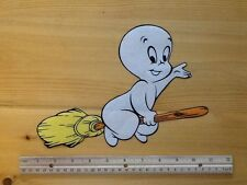 Halloween CASPER the friendly ghost fabric iron on applique - flying on broom