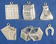 60pc S/S Plated Lucky Gambler Casino Lot Charm 6143