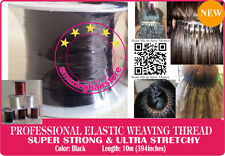 3X10m Black Brazilian Knot Hair Extensions Ultra Stretchy Elastic Weaving Thread