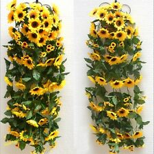 Artificial Yellow Sunflower Garland Flower Vine Wedding Floral Arch Decor Silk