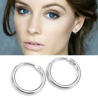 925 Sterling Silver 13mm Faceted Small Hinged Hoop Sleepers Earrings B/'Day GIFT