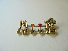Gold Tone Gardening Slider Pin With Enameled Flowers