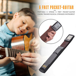 Pocket Guitar 6 Strings Trainer with Chord Chart Screen Practice Tool Rotatable