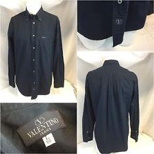 Valentino Long Sleeve Shirt L Black Cotton Button Made Italy Mint YGI E8-42