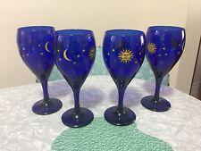 5 Vintage Libbey Cobalt Blue Celestial Moon & Stars Wine Goblets
