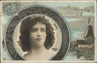 Beautiful Woman CAVELL Windmill & Art Nouveau Tinted Real Photo Postcard