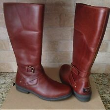 UGG EVANNA STOUT BROWN TALL WATERPROOF LEATHER RAIN SNOW BOOTS SIZE US 11 WOMENS