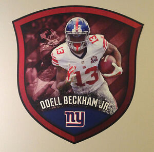 """Odell Beckham FATHEAD Official Big Player Shield 23"""" x 22"""" Giants NFL Graphics"""