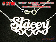 #2759 STACEY Personalized 925 Sterling Silver Name Necklace Handcrafted Custom