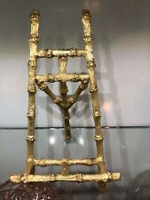 "Rare Vintage 7 in"" Ornate solid Brass Picture Easel bamboo Holder Stand"