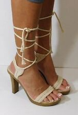 COLIN STUART Womens Crochet Ankle Wrap Gladiator Sandals Tie Up Heels Size 8