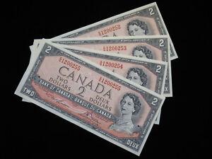 1954 $2 Dollar Canada Banknote 4x Consecutive S/G1200252-55 Lawson Bouey AU-UNC