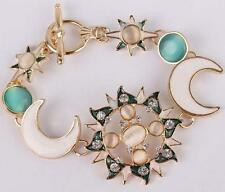 Jewelry Enamel Betsey Johnson Rhinestone Moon Sun Gold Chain Fashion Bracelets