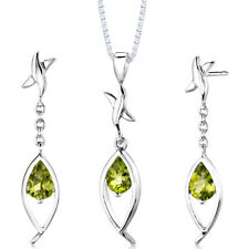 2 CT Pear Green Peridot Sterling Silver Earring and Pendant Set