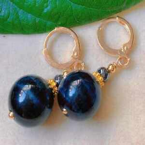 Fashion blue round banded agate hematite bead gold earrings Thanksgiving
