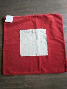 Pottery Barn Red Velvet & Linen Pillow Cover 18x18