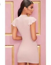PRETTYLITTLETHING Rose Pink Sexy Cap Sleeve Bodycon Party Mini Dress. UK 8