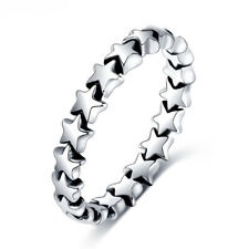 Unique Silver Plating Shine Star Band Rings Tail Ring For Girls Xmas Gifts #6 M