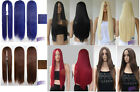 Party 28'' Women Ladies Long Straight Hair Full Wigs No Bang Middle Part Goddess