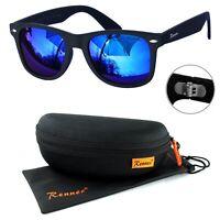 Rennec Sonnenbrille Nerd Retro Schwarz Dunkel Blau Verspiegelt 12X Brillenbox
