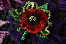 Handmade Red Crochet Poppy Flower Brooch