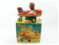 Vintage Japanese Kanto Toys tinplate clockwork Star Fire P 81 aeroplane