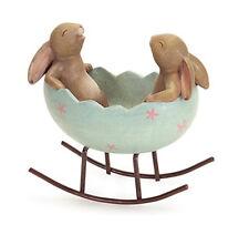 Bunny Rabbits Rocking in an Easter Egg Cradle Spring Easter Decor Figurine