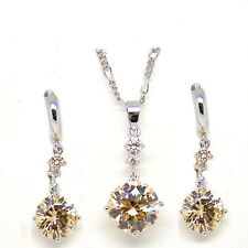 14k White Gold Plated Cubic Zirconia Earrings Necklace Set Round Cut