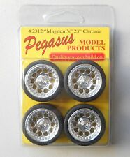 "23"" CHROME MAGNUM RIMS w TIRES PEGASUS 1:24 1:25 CAR MODEL ACCESSORY 2312"