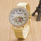 Fashion Women Ladies Crystal Gold Alloy Mesh Band Rhinestone Quartz Wrist Watch