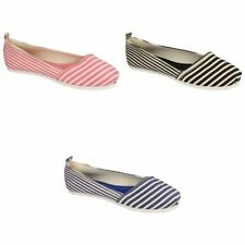 Canvas Spot On Striped Flats for Women