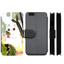 Fluffy Kitty Cactus Plant Cute Wallet Phone Case (For iPhone, Samsung)
