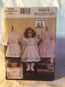 "Vogue Sewing Pattern UNCUT Teresa Layman 7532 18"" Heirloom Doll Clothes"