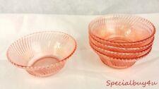 AB1 Set of 5 Pink Diana Depression Swirl Pattern Bowls Dessert Ice Cream