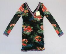 Flaying Tomato Women's Long Sleeve Floral Print Ruched Dress TW4 Black Medium
