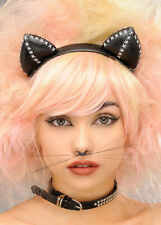 Black Stitched Catwoman Cat Ears on Headband