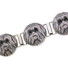 Vintage Handmade 925 Sterling Silver Garnet Shih Tzu Dog 7.25 Inch Bracelet