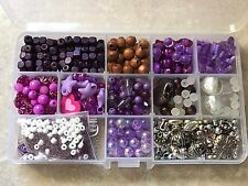 PURPLE JEWELLERY MAKING KIT,GLASS,FINDINGS,WOOD,BUTTERFLIES,FLOWERS, BEADS NEW