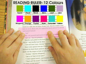 NEW Reading Ruler, coloured overlays for Dyslexia & Irlem Syndrome,(12 colours)