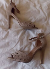 Fiore, Beige faux suede. peeptoes. studs. Ankle strap. 4.5' heel. UK 7.Worn once