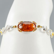 Handmade Natural Amber 925 Sterling Silver Bracelet Inches 6.75/BR03307